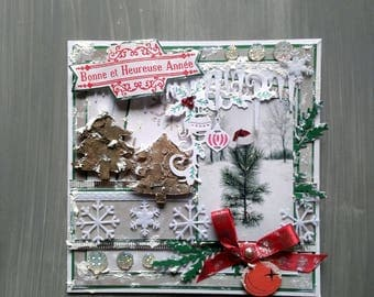 New year card, card, greeting, handmade, 3D, shabby, Christmas card, Christmas tree