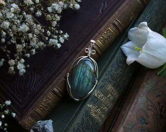 Green Wire Wrapped Oval Labradorite Pendant