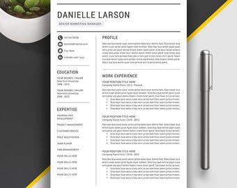 Resume Template / CV Template Word | Professional Resume Template | Modern and Creative Resume | 1, 2, 3 Page Resume Template | Danielle