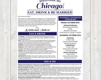 Welcome Letter, Wedding Welcome Letter, Hotel Welcome Letter, Wedding Weekend Itinerary, Destination Wedding Welcome Letter, Chicago Wedding