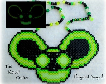 Deadmau5 Glow in the Dark Perler Bead Art Kandi Necklace Rave PLUR EDM