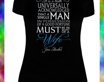 Jane Austen Shirt with GLITTER VINYL/Pride and Prejudice Shirt