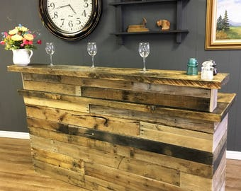Reclaimed Wood Bar with Wine Rack and Stemware Rack