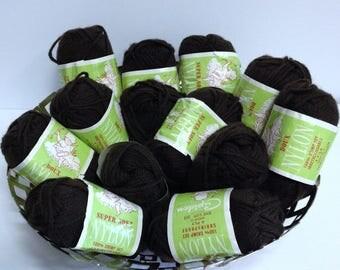 Dark Chocolate Brownie Nylon Brown Yarn, 100% Crimp Set Shrinkproof 4 Ply Yarn Made in Canada, 13 Skein Bundle of Discontinued Vintage Yarn