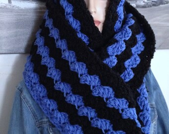 Handmade Crocheted Scarf, Extra Long Scarf, Blue & Black Striped Scarf Winter Cowl with Hood Stretchy Blanket Stitch Scarf Ready to Ship