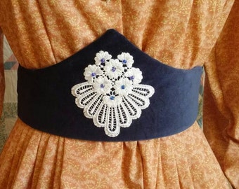 Navy Blue Medici Belt with White Applique and tie back