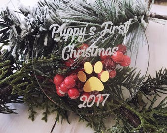 Puppy's First Christmas,Christmas Ornaments,Ornament,Ornaments Personalized,Engraved Acrylic Ornament,Custom Ornaments,Gold Ornament,Gifts
