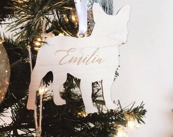 Dog Silhouette Wood Ornament,Personalized Gift,Custom Ornament,Christmas Decor,Wedding Gift,Dog Breeds,Gift Ideas,Holiday decor,Gift idea