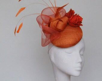 Burnt Orange Fascinator Headpiece