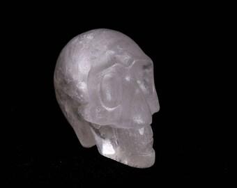 Natural white Quartz Crystal Carved Skeleton,Healing Skull,Pretty surprising Crystal Skull J878