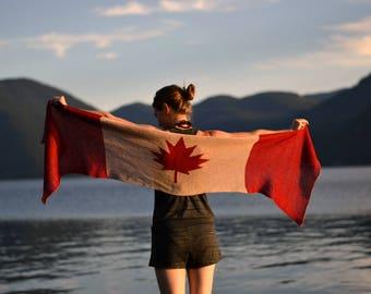 Canada Flag Knit Shawl