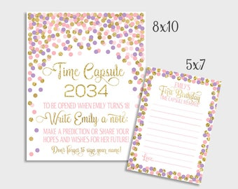 1st Birthday Or Baby Shower Time Capsule Printable Birthday Time Capsule Sign & Message Cards Pink Purple Gold Confetti Party Decorations