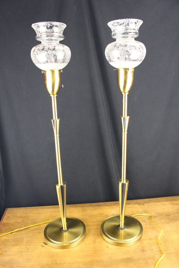 Pair Table Lamps Rembrandt Masterpiece-Mid-Century Decor-Brass-Street Lamps-lighting