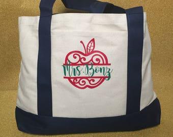 Teacher Custom Personalized Canvas Tote Bag