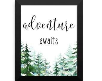 Adventure Awaits Framed Print, Framed Art Print, Adventure Quote, Inspirational Art, Motivational Poster, Framed Wall Art, Home Decor