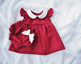 Red Dress Bloomer Set for Girl Baby & Girl Toddler, Girls Red Dress, Burgundy Red Linen Dress, 1st Birthday Outfit, First Christmas