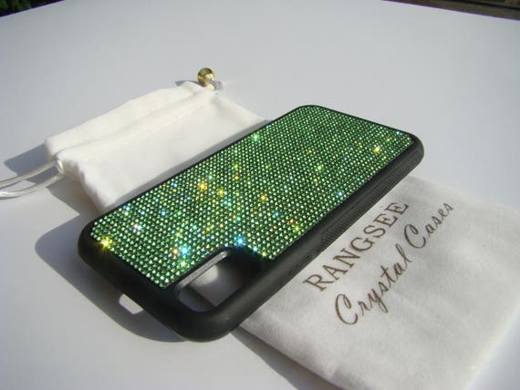 iPhone X Case , Green Peridot Rhinestone Crystals on Black Rubber Case. Velvet/Silk Pouch Bag Included, .