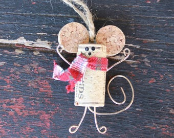 Country Mouse Christmas Ornament