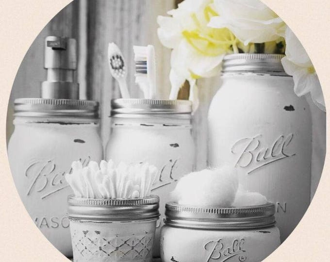 Bathroom Set Ball Mason Jars // Handmade Gifts // Home Decor // Kitchen Set // Unique Gifts // Mother's Day Gifts // Gift Ideas // Storage