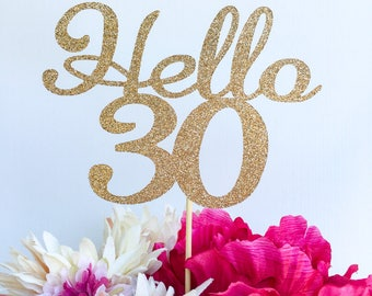 Any number topper | Thirty cake topper | Thirty | 30 cake topper | Number cake topper | Age cake topper | Glitter cake topper | Hello 30