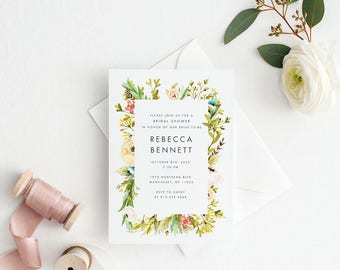 Printable Bridal Shower Invitation - Peach Floral Wedding Bridal Shower Invite - Ready to Print PDF, Letter or A4 Size (Item code: P1036)