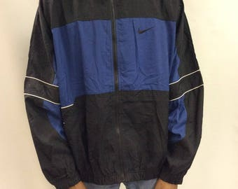 Vintage Nike black and blue windbreaker jacket