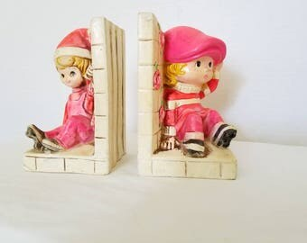 Vintage Chalkware Children Bookends,Holiday Fair Bookends,Boy & Girl Bookends,Kitschy,Pink Bookends,Holiday Fair,Kitsch,Japan,Big Eyes,1960s