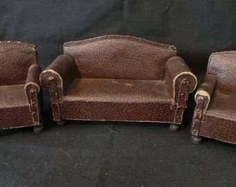 Antique Vintage Dollhouse Miniature Brown Faux Leather Couch And Armchair Set