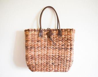 Brown Straw Bag, Woven Straw Shoulder Bag, Straw Basket Bag, Shopping Bag Market Bag Straw Beach Bag
