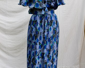 Vintage 1980s Diane Freis Floral Ruffle Dress - Blue, Size Fits Most