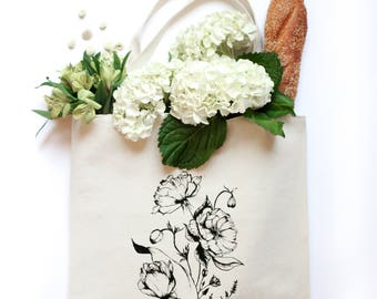 Floral Tote Bag, Market Bag, Beach Bag, Canvas Tote, Tote,