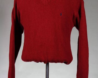 ON SALE Vintage 80s Polo Ralph Lauren Red 100% Cotton V-Neck Sweater Mens L