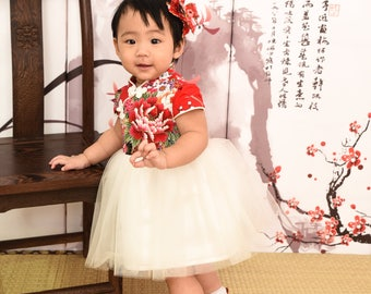 girl cheongsam style tutu dress handmade china red