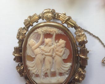 Antique Pinchbeck Cameo, Three Graces Cameo, Mourning Brooch, Shell Cameo Brooch, Circa 1800
