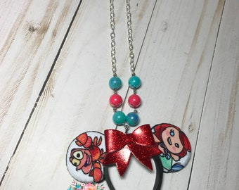 Little Mermaid Mickey Ears Necklace