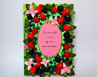 Berry journal The nectar of life -polymer clay journal- polymer clay notebook - journal cover - unique journal -polymer clay berries