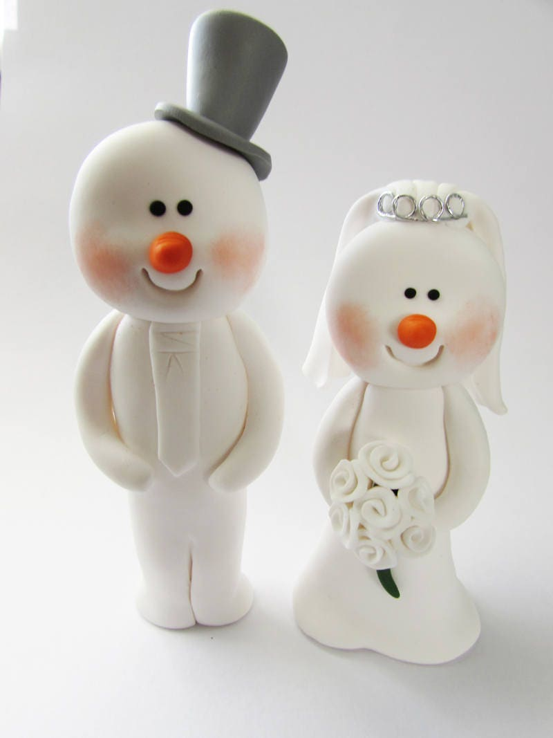 Snowman Wedding Cake Topper, Bride And Groom, Novelty Topper ...