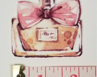 1 Resin Paris Theme Perfume bottle BIG 2 in by 2 in   -  Printed Grosgrain Ribbon for Hair Bow - Original Design