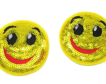 1 Piece -  Happy Face Embroidery Patch with Sequins iron on with glue  Approx. 2 1/2 inches for Hair bow Center