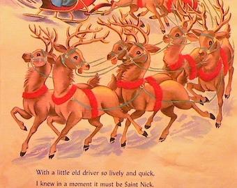1950 Santa Claus & Reindeer Night Before Christmas Matted Vintage Print