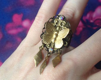 Ring adjustable gold butterfly and pendants