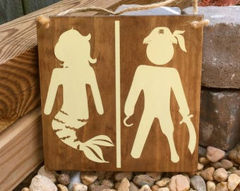 Beach Decor, Bathroom Sign, Restroom Sign, Nautical Sign, Pirate Sign, Mermaid Sign, Hand Painted, Wood Sign