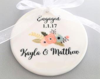 Engagement Ornament, Ceramic Ornament, Customized Engagement Ornament, Engagement Gift, Engaged, Bride to be, Bride to Be Gift, Ornaments