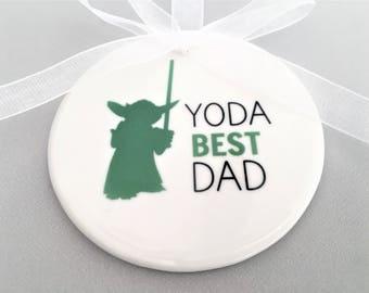 Ceramic Star Wars Ornament, Yoda Ornament, Dad Ornament, Gift for Dad, Christmas Ornament, Yoda Christmas Ornament, Dad Gift, Yoda Best Dad