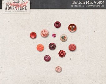 Retro Buttons, Vintage Button Mix, Digital Download, Commercial Use OK, Digital Scrapbooking Elements, Red, Pink, Orange, Romantic Buttons