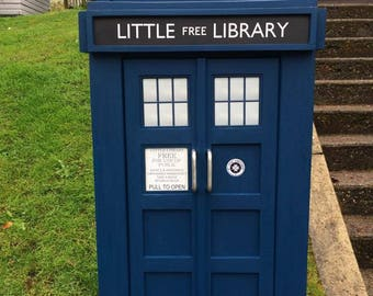 TARDIS Inspired Little Free Book Exchange Library