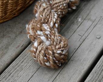 Handspun Art Yarn - Alpaca, Teeswater, Silk Noils, Angora - Shimmer Autowrap 2 ply - 28 yards