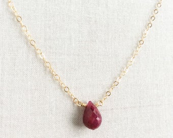 Ruby Necklace,Gold Ruby Necklace, Genuine Ruby Necklace, Red Stone Necklace, July Birthstone Necklace, Ruby Necklace Gold, Ruby Jewelry BN7