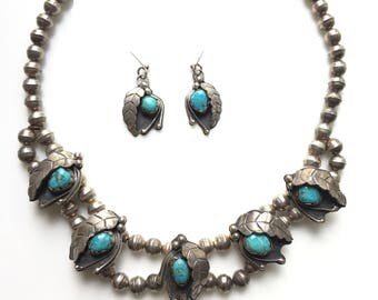 Vintage Native American Navajo Sterling Silver Turquoise Squash Blossom Necklace and Earrings Set