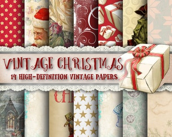 Vintage Christmas Paper - Vintage Holiday Paper, Vintage Paper, Old Paper, Digital Papers, Snow Paper, Wrapping Paper, Present Paper, Print